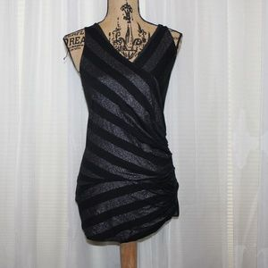 Gorgeous Express silver and black top